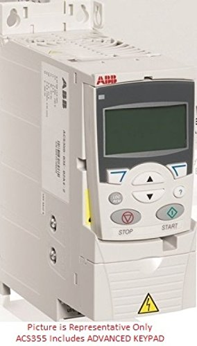 ABB ACS355-03U-38A0-4+J400, 25HP, 3-Phase, 380-480V (Input), IP20 Enclosure, Variable Frequency Drive. Includes ADVANCED DIGITAL KEYPAD by ABB
