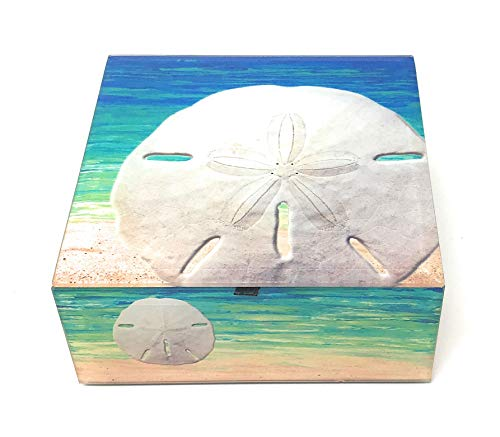 Value Arts Sand Dollar on Beach Keepsake Box, 4.75 Inches Square
