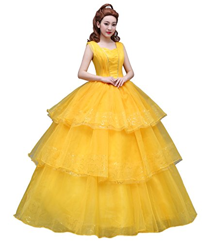Angelaicos Women's Layered Lace Costume Dress Prom Ball Gown Long Yellow (S, Bling Sequins Dress) -