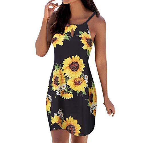 2019 Hot Womens Casual Breathable Print Mini Sundress Girls Outdoor Hanging Sling Halter Neck Sleeveless Mini Beachwear Dress (Black, M)