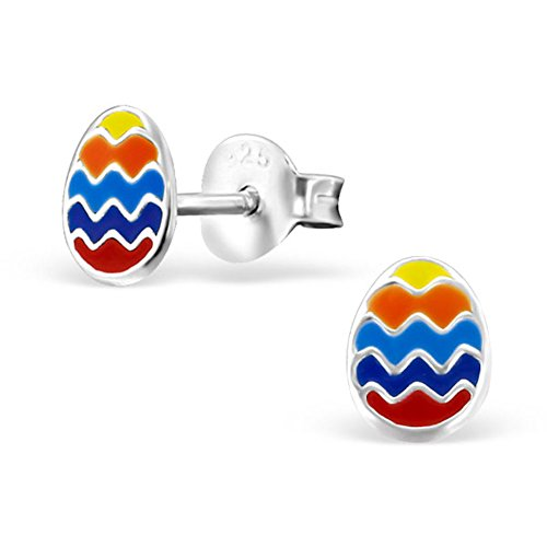 Tiny Easter Egg Earrings, Colourful, Multi Coloured, Girls 925 Stering Silver (E21710)