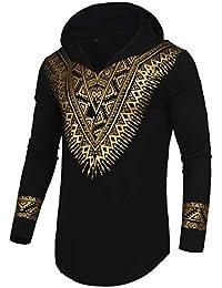 ff3a1b1427f Mens African Dashiki Shirt Metallic Floral Printed Slim Fit Long Sleeve V  Neck Shirts Blouse