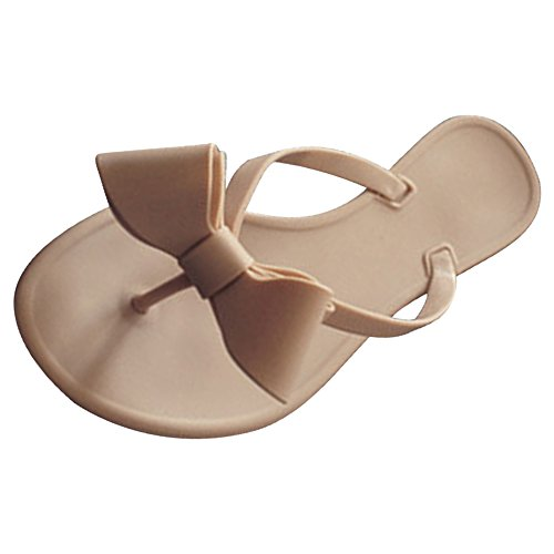 Eastlion Women and Girl's Sweet Bow Flat Sole Flip Flops Thongs Summer Slippers Beach Slippers Sandals Shoes Beige