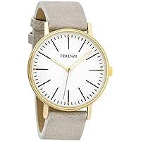 Ferenzi Women's | Fashion Minimalist Gold Watch with Light Grey PU Leather | FZ17202