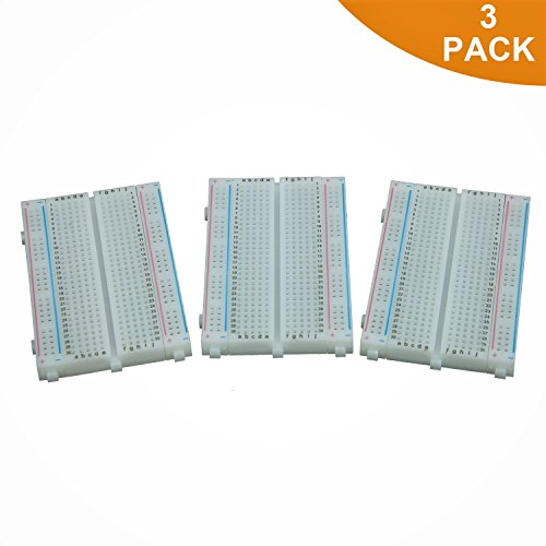 Breadboard Solderless Prototype PCB Board – ALLUS BB-009 (3pcs) 400 Pin with 4 power Rails and Double Sided Tape for Raspberry Pi and Arduino