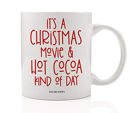 Red Christmas Mug Gift Idea Hot Cocoa & A Holiday Movie Winter Season Perfect Cold Day Snuggle Fun Present for Children Friend Family Office Coworker 11oz Ceramic Coffee Tea Cup -