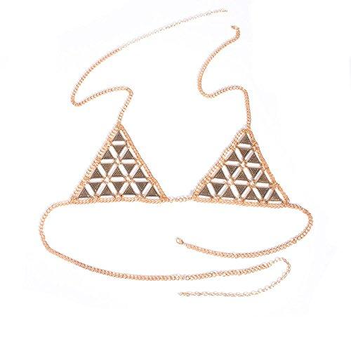 - Ytzada Women's Body Belly Chain Silver Bra Jewelry Sexy Necklace Bikini for Beach Party