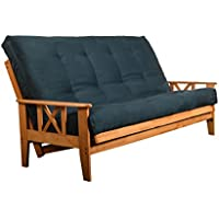 Queen or Full Size Eldorado Futon Set Hardwood Frame w/ 8 Inch Coil Mattress Sofa Bed Choice to Add Drawer Set (Navy Matt w/Frame Only Queen Size)