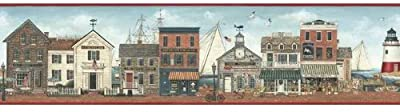 Harbor Town Lighthouse Boats Ships Wallpaper Border - Red Edge