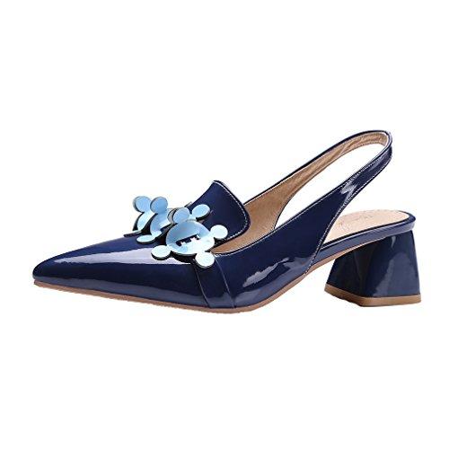YE Damen Lackleder Spitz Zehen Chunky Heel Slingback Pumps mit Schnalle und blumen 5cm Absatz Schuhe