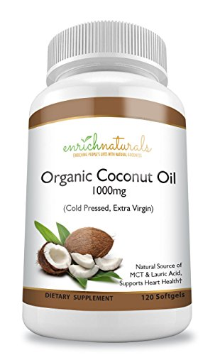 Organic Coconut Oil Softgels 1000mg Cold Pressed Extra Virgin Coconut Oil Pills 120 Capsules Natural Source of MCT & Lauric Acid - Easy to Swallow Coconut Oil (Lauric Acid Coconut)