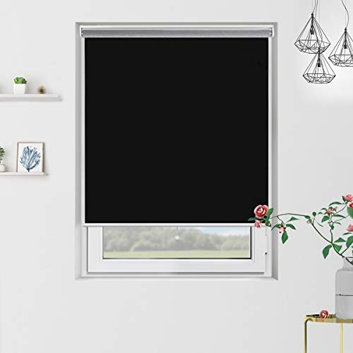 Black Roller Shade - Grandekor Blackout Roller Shades Black Roller Blinds Windows 35 inch x 72 inch, Cordless Spring Window Roller Shade for Home, Thermal and Room Darkening