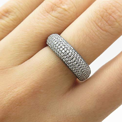 0.25' Sterling Silver Charm - Black Rhodium Micro Pave C Z Ring Size 6 DG-3194