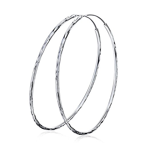 YFN Unisex Men 925 Sterling Silver Big Round Circle Earrings Dia 2.4 Inch