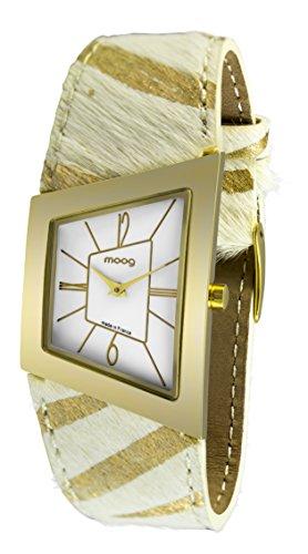 Moog Paris Avant-Gardiste Women's Watch with White Dial, White & Gold Strap in Genuine Horseskin - M41442F-010