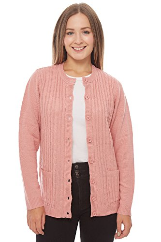 Knit Minded Long Sleeve Two Pocket Cable Knit Cardigan Sweater Pink XL