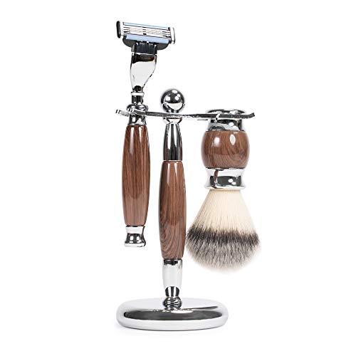 WYZworks Wooden Luxury 3 Piece Oak Shave Kit Badger Brush Shaver Hanger Gentleman Set Compatible for Gillette Mach3 Razor ()