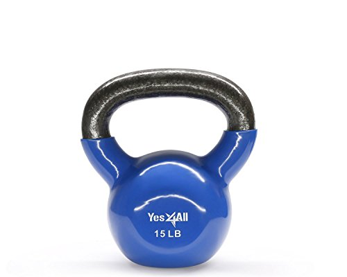 Yes4All KLD1 Kettlebell, 15 lb, Vinyl