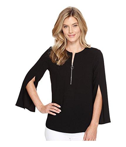 Karen Kane Women's Open Sleeve Zip-up Top, Black, S