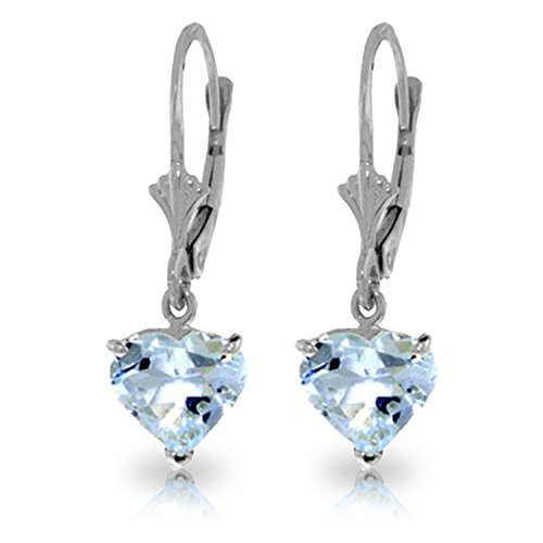 ALARRI 3.05 Carat 14K Solid White Gold Leverback Earrings Natural Aquamarine by ALARRI