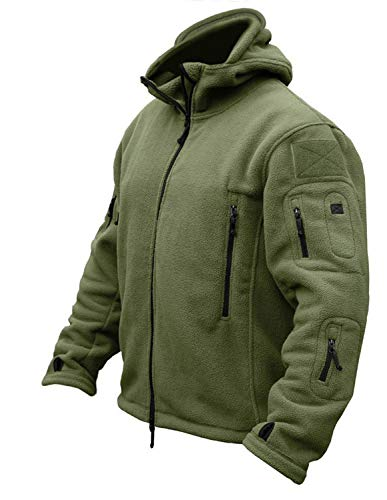 (CRYSULLY Mans Army Multi-Pocket Full Zip Outerdoor Tactical Combat Jackets Warm Hoodie Parka Jacket Green)