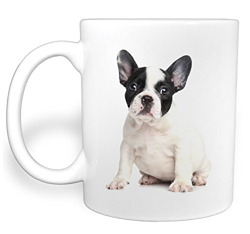Chubby French Bulldog Black and White Puppy Dog Sits - 11 Ounce Ceramic Coffee (Bulldogs White Ceramic)