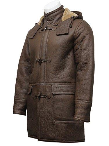 Men's Brown Warm Winter Real Shearling Sheepskin Leather Duffle Coat (X-Large)
