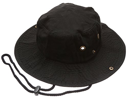 Summer Outdoor Boonie Hunting Fishing Safari Bucket Sun Hat with Adjustable Strap(Black,SM)