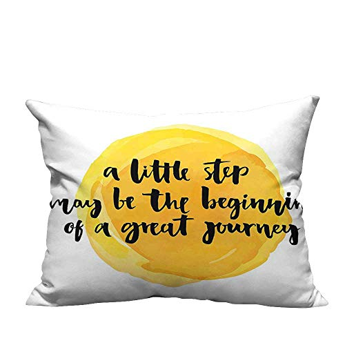 YouXianHome Lovely Cushion Covers A Little Step May be The Beginning of a Great Journey Quote Print Resists Stains(Double-Sided Printing) 13x17.5 inch