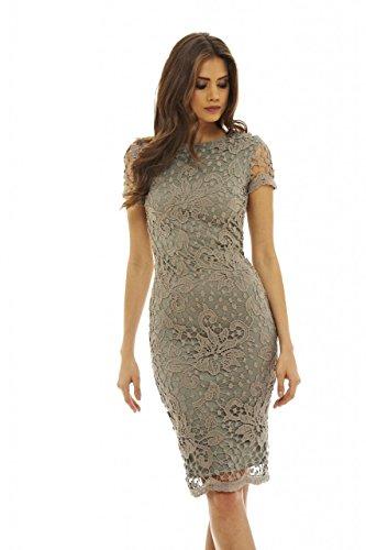 AX Paris Women's Crochet Lace Midi Dress(Grey, Size8)