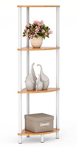 Tribesigns Bamboo Bathroom Corner Shelf, Water Resistant 4 Tier Corner Storage Shelves for Living Room, Kitchen, Shower (4 Tier) (Corner Bamboo)