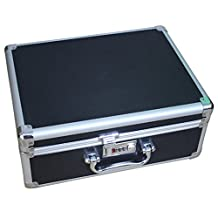 """Enerhu Aluminium Alloy Tool Boxes Hard Case Carrying Case with Handle&Lock 14.17""""by11.02""""by5.91""""Black"""