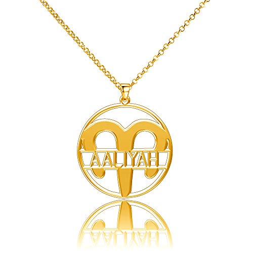 LoEnMe Jewelry Gold Plated Aries Aaliyah Necklace Custom Any Name Personalized Women Hamsa Harry Law Customize