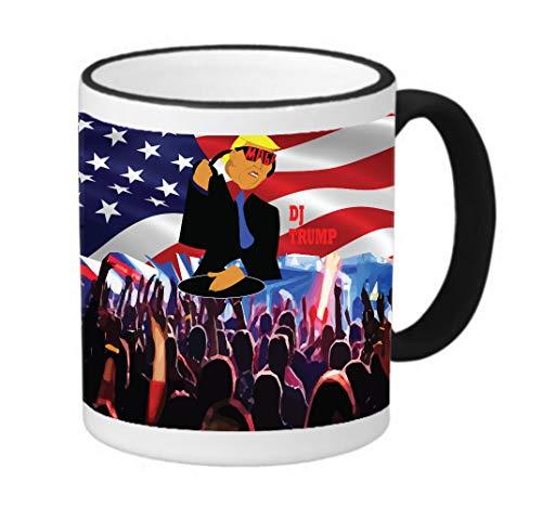 DJ Trump America Rave MAGA 11 ounce Black Rim/Handle Ringer Ceramic Coffee Mug Tea Cup by Sorem Designs ()