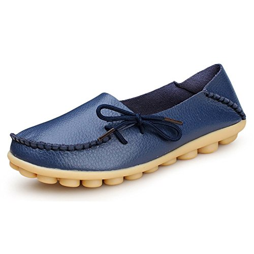 vaganana Women's Flats Shoes Blue3 Dark Leather Comfort Driving On Loafers Slip Walking Soft OrdqRr