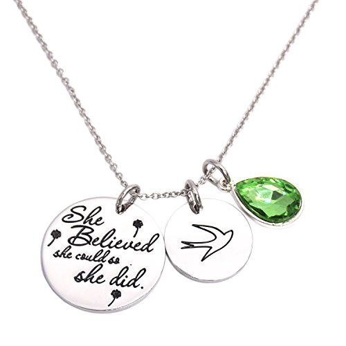 LParkin She Believed She Could So She Did Pendant Necklace Birthstone Motivation Jewelry