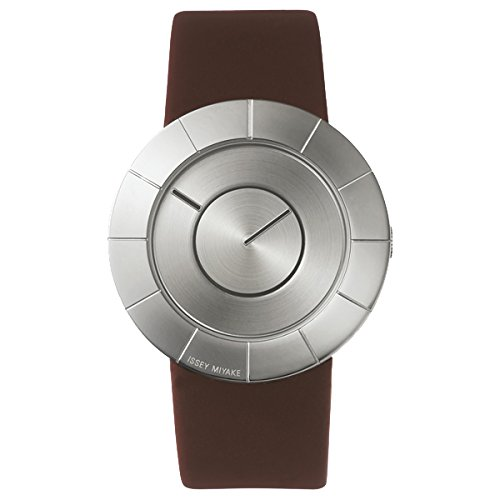 Issey Miyake TO Silver Face Dark Brown Band Watch SILAN008