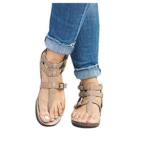 Liyuandian Womens Cross Toe Double Buckle Strap Summer Leather Flat Mayari Sandals (7 US-10.05in(Foot Length)-38 EU, C-Beige)