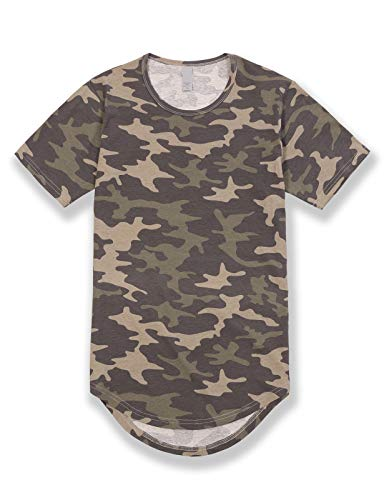 (JD Apparel Men's Hipster Longline Drop Cut T-Shirts 2XL Camouflage)