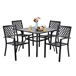 Garden and Outdoor PHI VILLA 5-Piece Metal Patio Outdoor Table and Chairs Dining Set- 37″ Square Bistro Table and 4 Backyard Garden Chairs, Table with 1.57″ Umbrella Hole patio dining sets