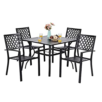 "PHI VILLA 5-Piece Metal Patio Outdoor Table and Chairs Dining Set- 37"" Square Bistro Table and 4 Backyard Garden Chairs, Table with 1.57"" Umbrella Hole - ▲Table Size: 37""L x 37""W x 28""H; Diameter of umbrella hole:1.57"". Chair Size: 25.2""D x 22.8""W x 35""H, Seat Height:17""; Weight Capacity: 300 LBS. ▲Sturdy metal steel frame longevity with e-coating for rust and weather resistant, bring you years of enjoyment on patio, balcony, or other outdoor area. ▲Patio set including 1 bistro table & 4 backyard chairs. Spacious patio table and chairs comfortable for four or more person family dinner and party. - patio-furniture, dining-sets-patio-funiture, patio - 41qIMiheN7L. SS400  -"