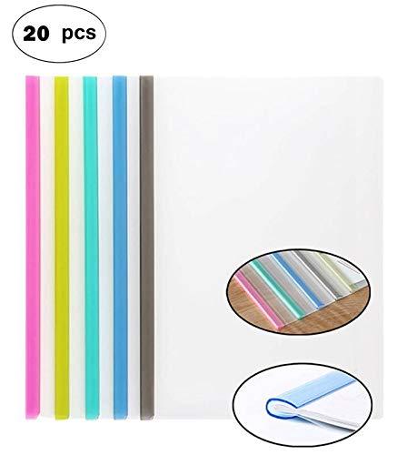 (Transparent Plastic File Folder Sliding Bar Report Covers (with U-type Sliding Bar,40 sheet cap), Transparent Resume Presentation File Folders Organizer Binder For A4 Size Paper, 5 Color 20 Pieces)