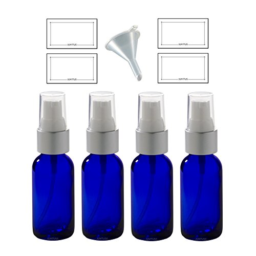 Cobalt Blue Glass Boston Round Silver and White Treatment Pump Bottle - 1 oz (4 Pack) + Funnel and Labels - Luxury Labels