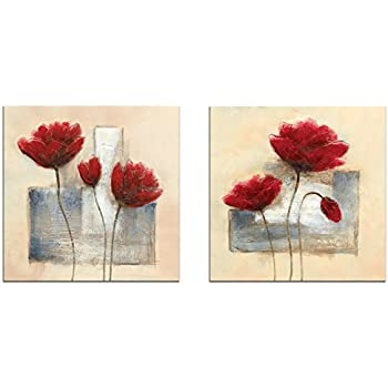 Wieco Art - Charming Spring Modern 2 Panels Stretched and Framed Giclee Canvas Prints Artwork Abstract Floral Oil Paintings Style Picture Photo on Canvas Wall Art for Bedroom Home Decorations 2pcs/set