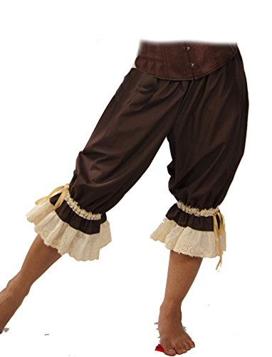 Dress Like A Pirate Wench Renaissance Steampunk Cotton Bloomers (Large, Brown with Ivory (Pirate Wench Boots)