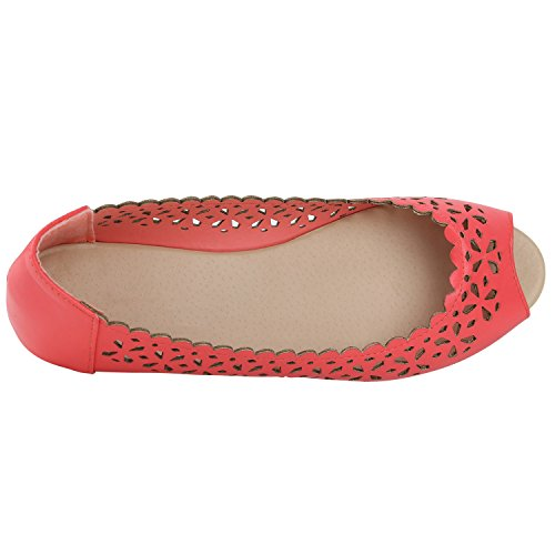 Klassische Damen Ballerinas Leder-Optik Flats Schuhe Übergrößen Flache Slipper Spitze Prints Strass Flandell Coral Lochungen