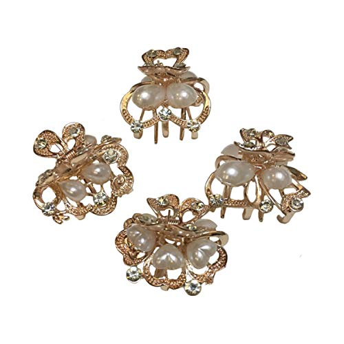 - Numblartd Set of 4 Vintage Champagne Gold Pearl Rhinestone Alloy Small Size Butterfly Hair Claw Jaw Clips Pins - Women Fashion Chic Hair Updo Grip Hair Catch Clamp Hair Accessories