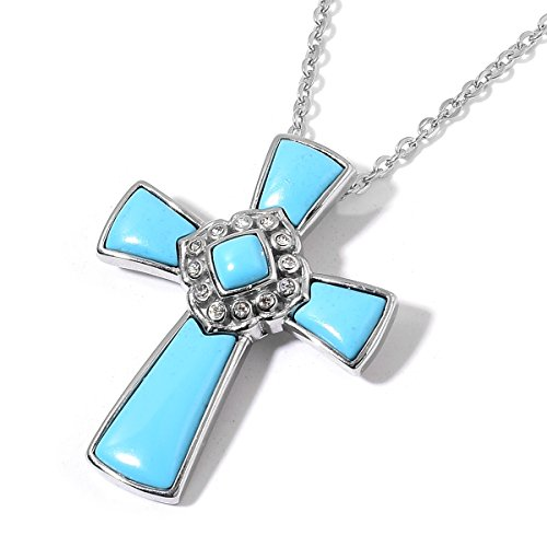 Blue Chroma, Crystal Stainless Steel Cross Fashion Pendant Necklace With Chain Size 20