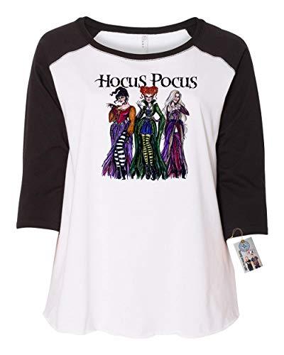 Womens Plus Size Raglan Shirt Hocus Pocus Shirt Sanderson Sisters Black White 1X ()