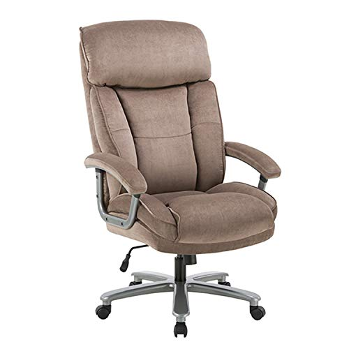 Ergonomic Big & Tall Executive Office Chair with Upholstered Swivel 400lbs High Capacity Adjustable Height Thick Padding Headrest and Armrest for Home Office Beige (Chair Desk Cloth)